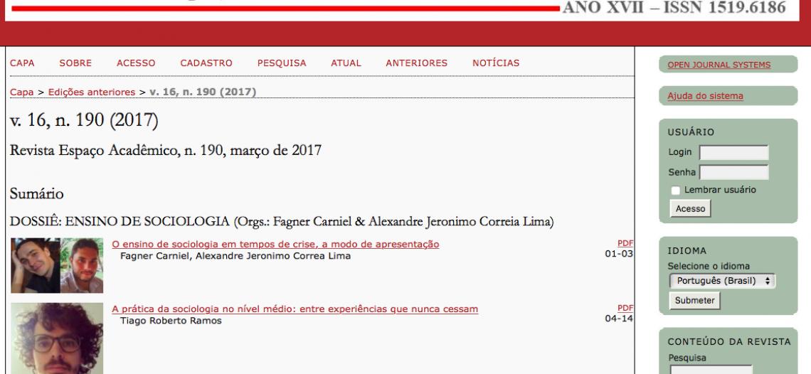 """Revista Espaço Acadêmico lança o dossiê """"Ensino de Sociologia"""""""