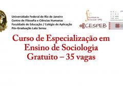 Curso de Especialização em Ensino de Sociologia (UFRJ) gratuito – 35 vagas