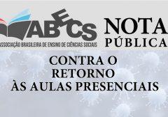 NOTA CONTRA O RETORNO ÀS AULAS PRESENCIAIS